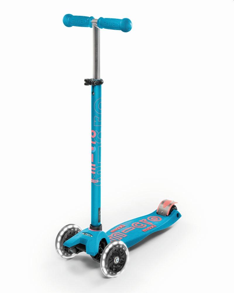 קורקינט מתקפל עם גלגלי לד Maxi Micro Deluxe Foldable Led כחול אקווה